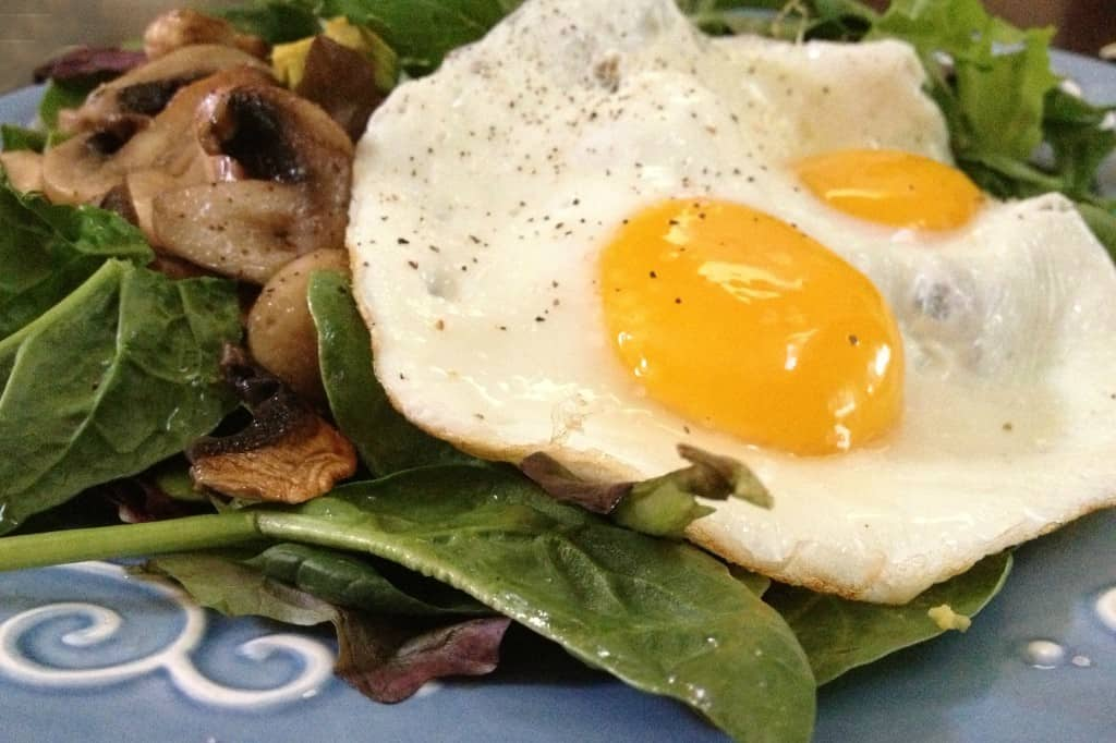 Egg, Mushrooms, Avocado, Spinach Salad