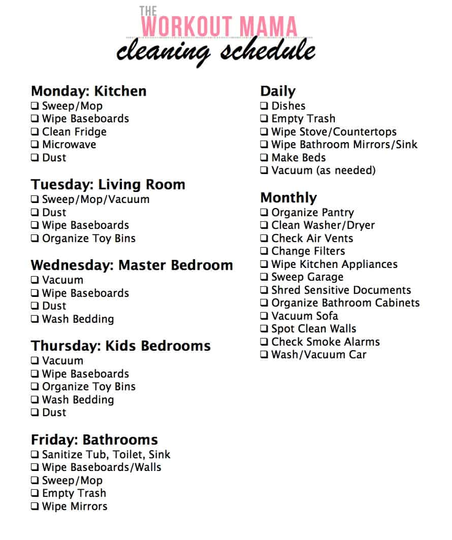 cleaning schedule archives the workout mama. Black Bedroom Furniture Sets. Home Design Ideas