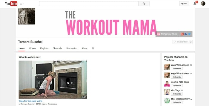 The Workout Mama YouTube Channel