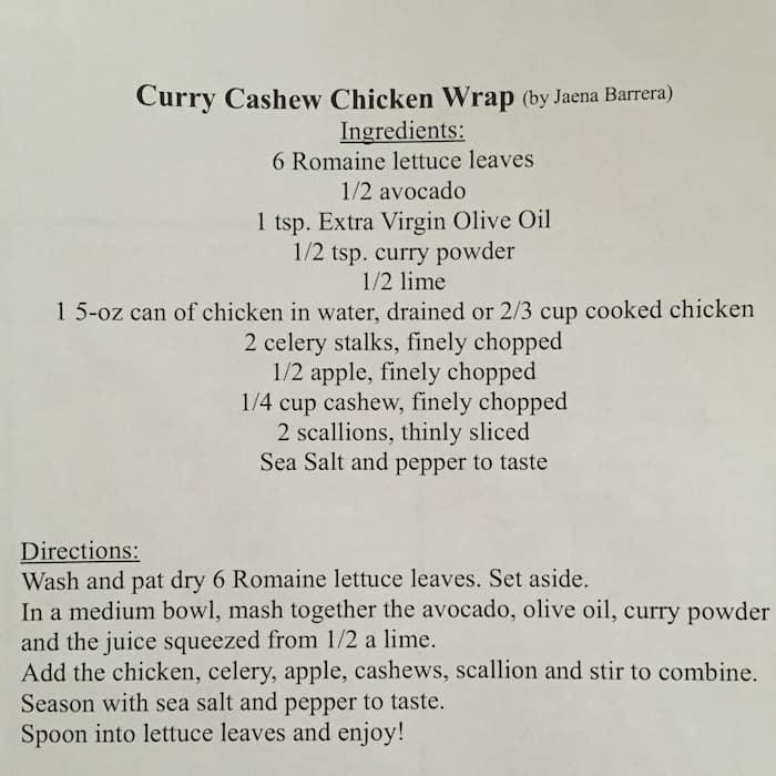 Curry Cashew Chicken Wrap Recipe