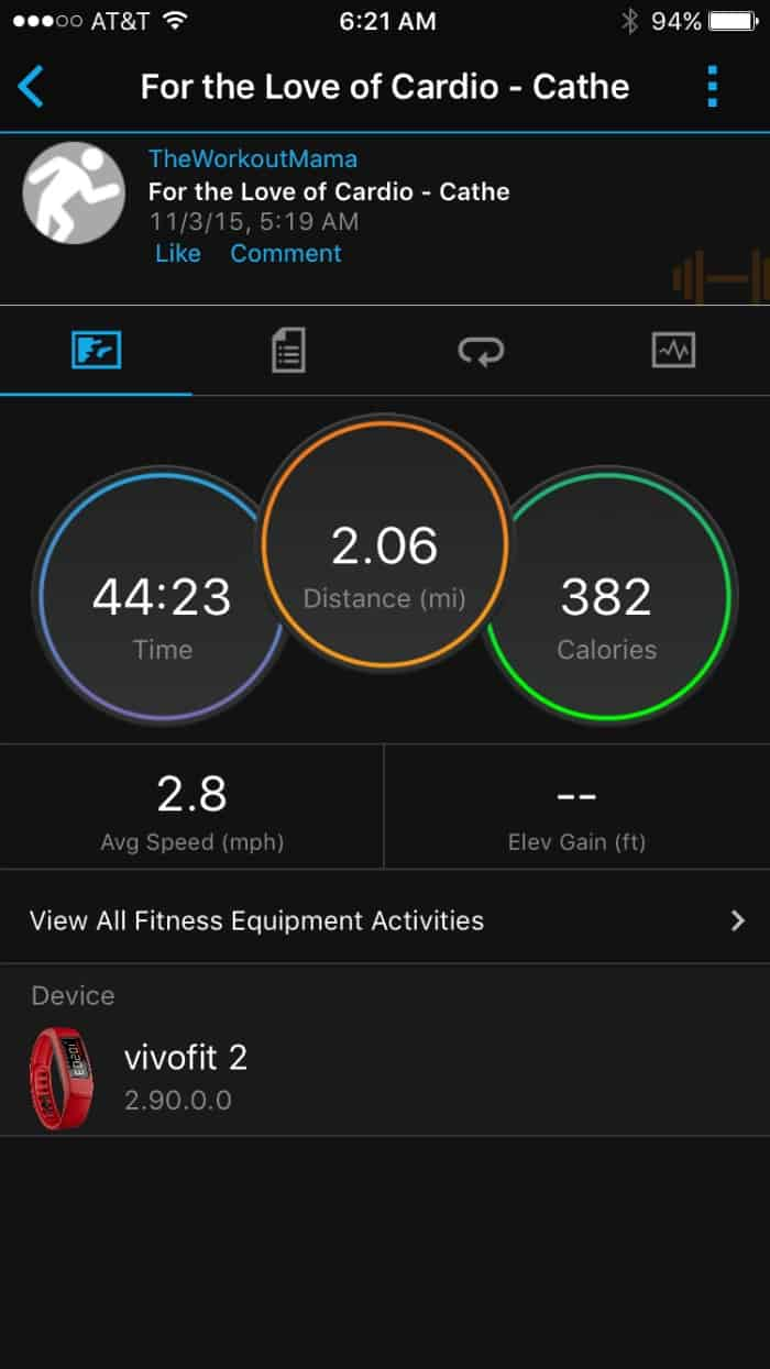 Garmin's vívofit 2 Activity Tracker Screenshot