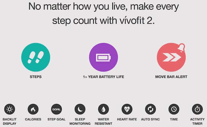vívofit 2 activity tracker specs
