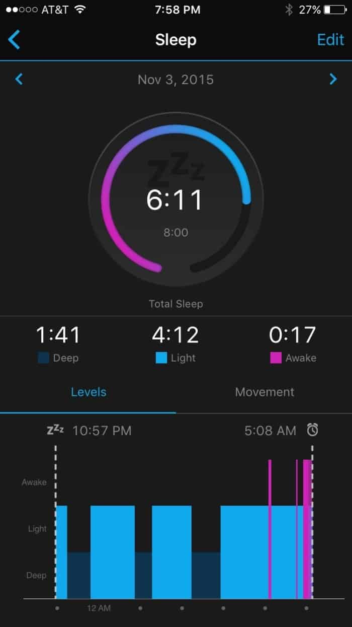 Garmin vívofit 2 Sleep Screenshot